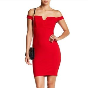 ASTR The Label Red Bodycon Cocktail Dress